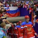 Россия после второго периода проигрывает сборной Финляндии со счетом 1:3